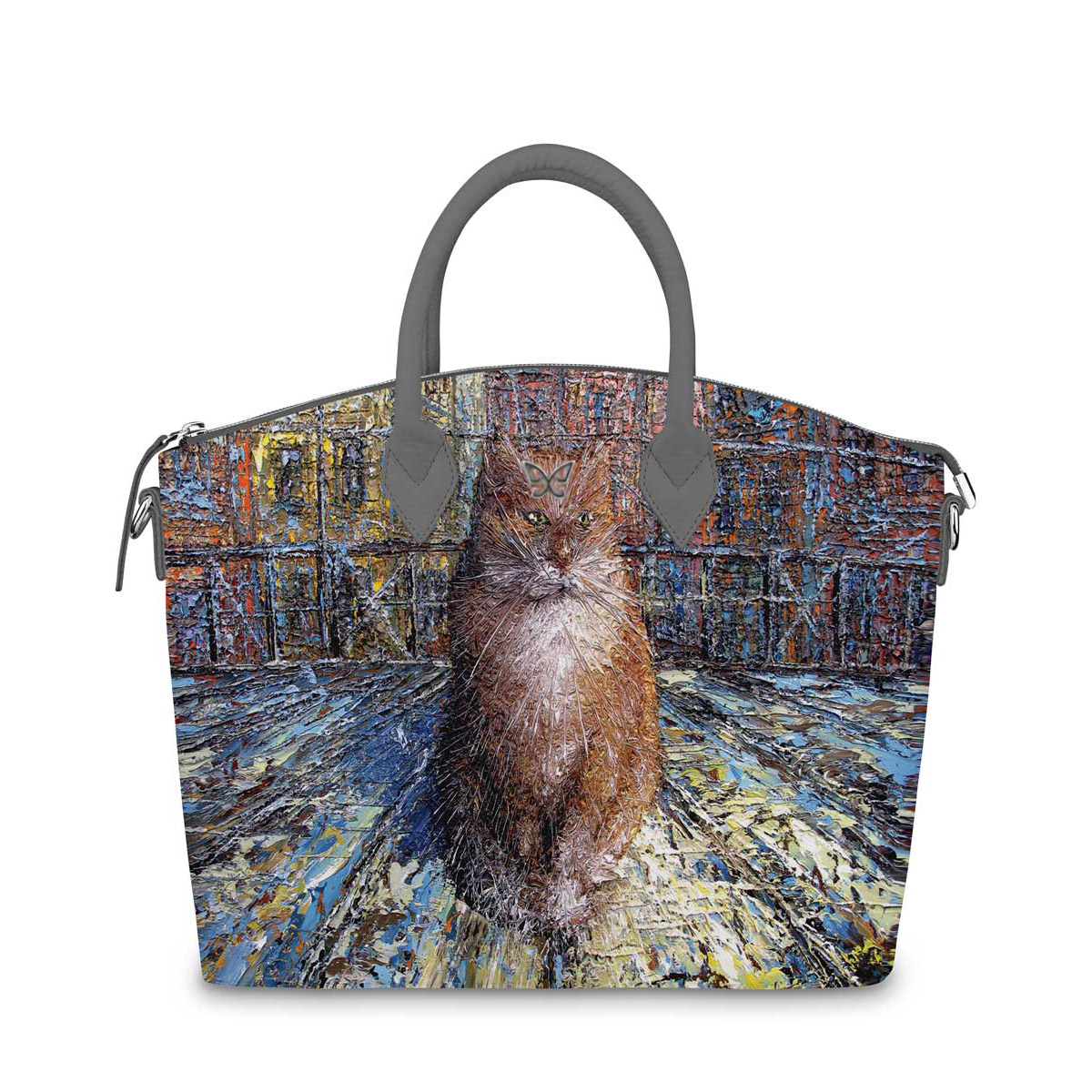 Сумка на руку по картине Дмитрия Кустановича «Рыжий питерский кот»