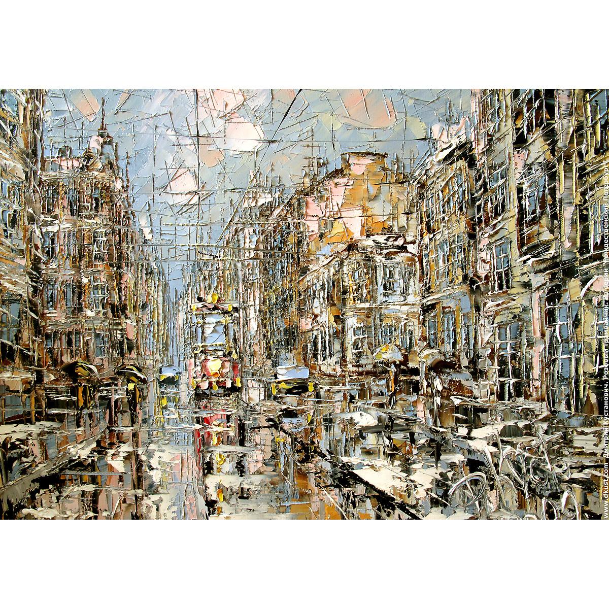 Репродукция по картине Дмитрия Кустановича «Розовый трамвайчик»