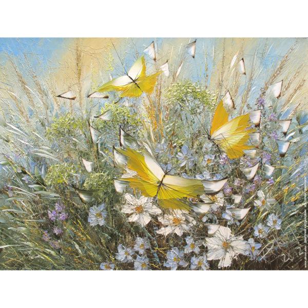 Репродукция по картине Дмитрия Кустановича «Полёт над цветами и травами»