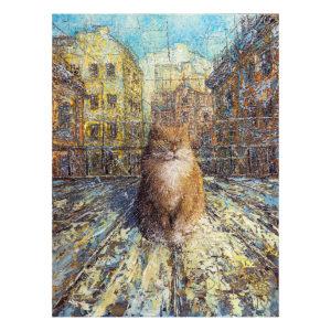 Urban фреска (жикле) по картине Дмитрия Кустановича «Рыжий питерский кот»