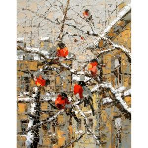 Urban фреска (жикле) по картине Дмитрия Кустановича «Снегири»