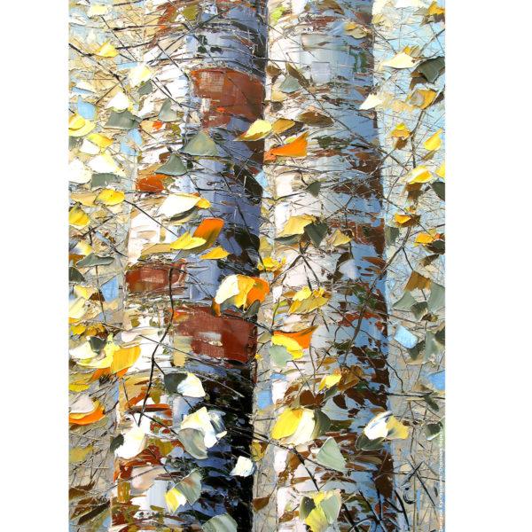 Репродукция по картине Дмитрия Кустановича «Осенние берёзы»