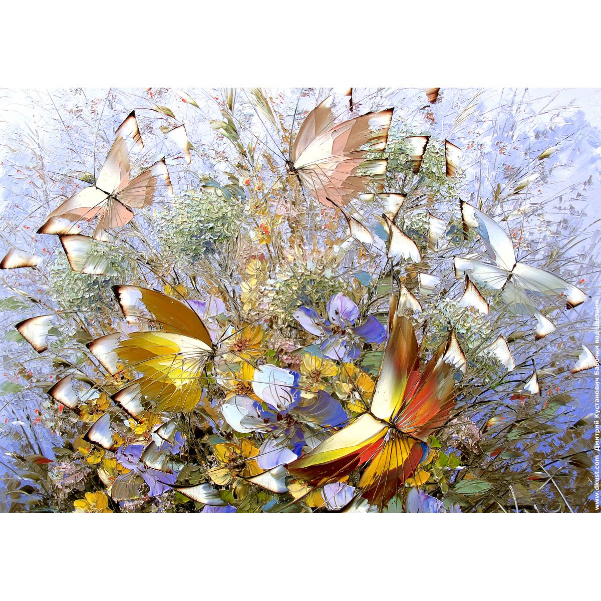Репродукция по картине Дмитрия Кустановича «Бабочки над цветами»