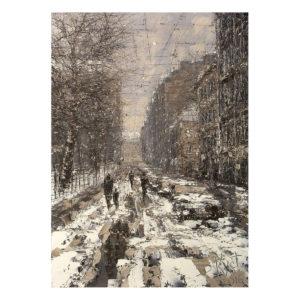 Urban фреска (жикле) по картине Дмитрия Кустановича «Зимний день на петербургской улице»