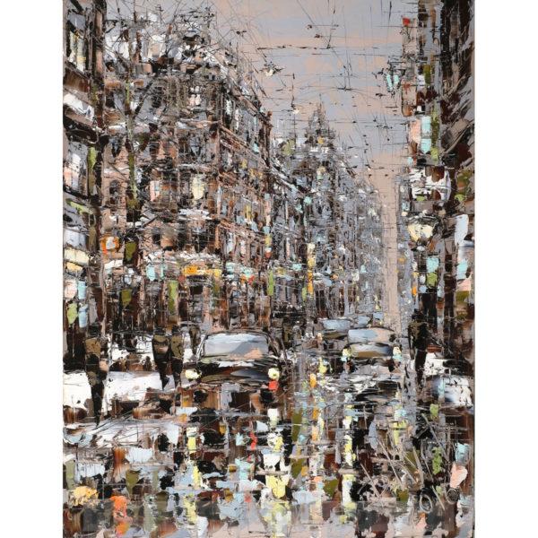 Urban фреска (жикле) по картине Дмитрия Кустановича «Улица Петербурга поздним вечером»