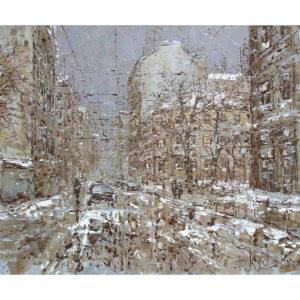 Художник Дмитрий Кустанович. Первый снег в Петербурге