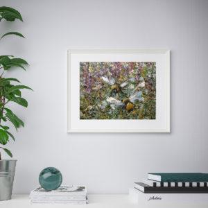 Репродукция по картине Дмитрия Кустановича «Два шмеля в летних травах»