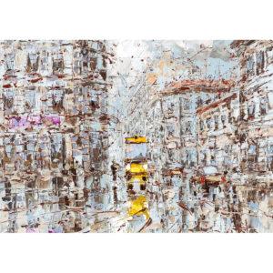 Репродукция картины Дмитрия Кустановича «Желтый автобус»
