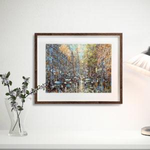 Репродукция по картине Дмитрия Кустановича «Летний дождь в Петербурге» в интерьере