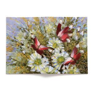 Обложка для паспорта по картине Дмитрия Кустановича «Бабочки и цветы»